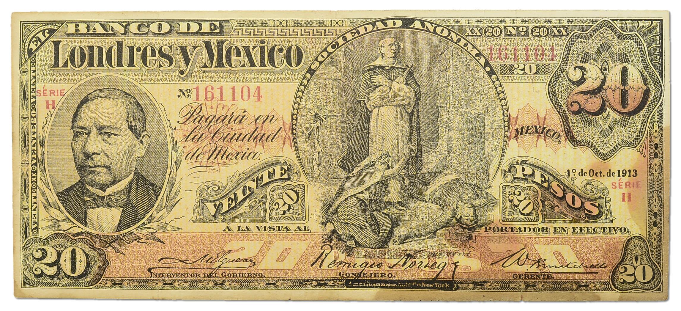 4.Meksyk, 20 Pesos 1913 rzadki, P.S235.d, St.3-