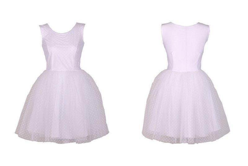 2e020dd2 RiZ Sukienka GOTYK 3 warstwy tiul kropki 42 BIAŁA - 6707462620 ...