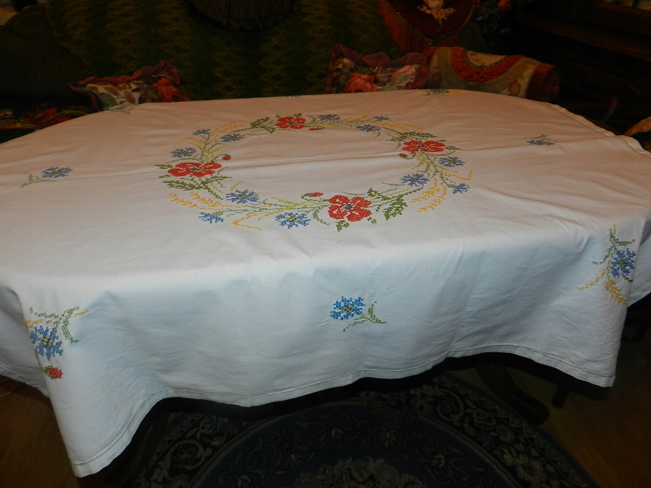 ŚLICZNY STARY OBRUS haft ręczny polne kwiaty