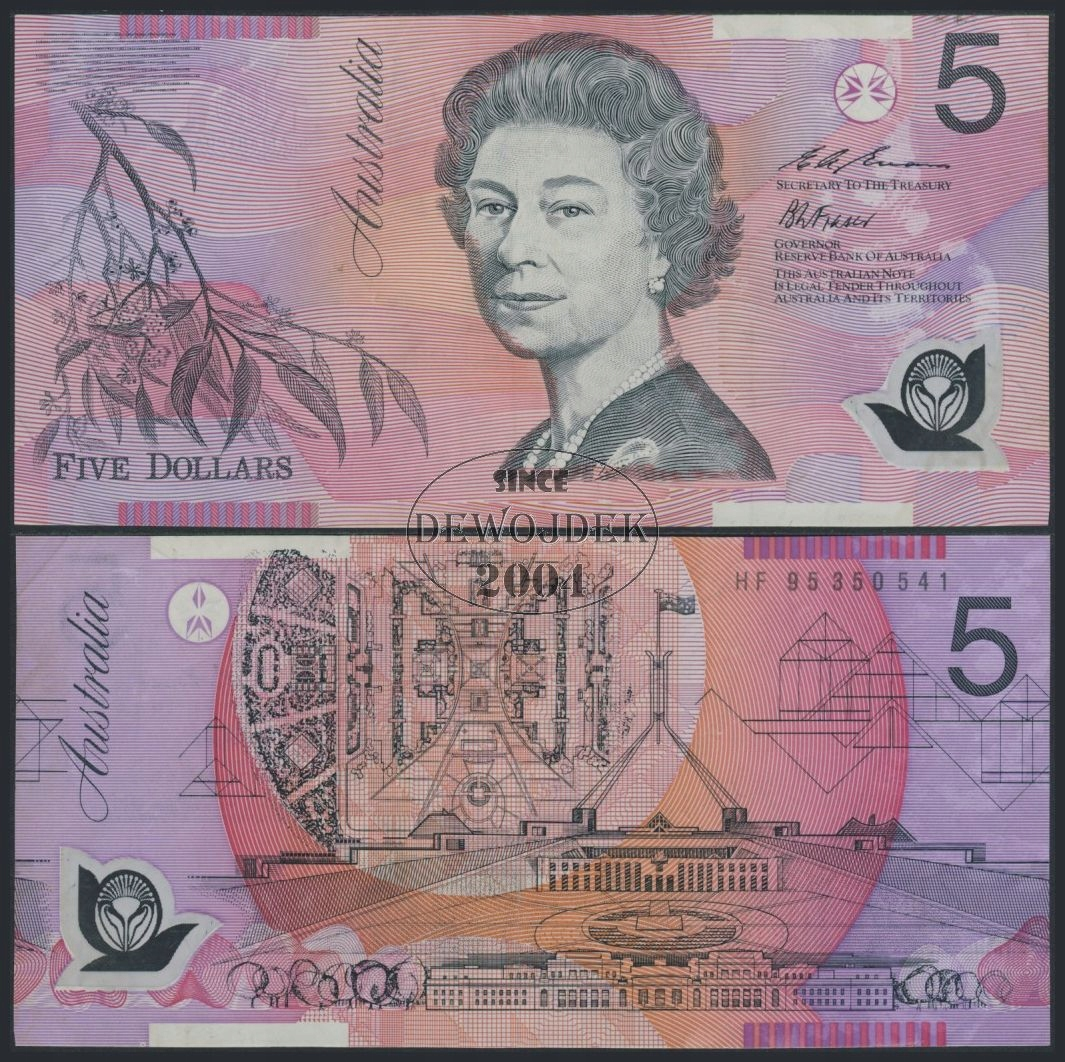MAX - AUSTRALIA 5 Dollars 1995 POLIMER P51b # VF-