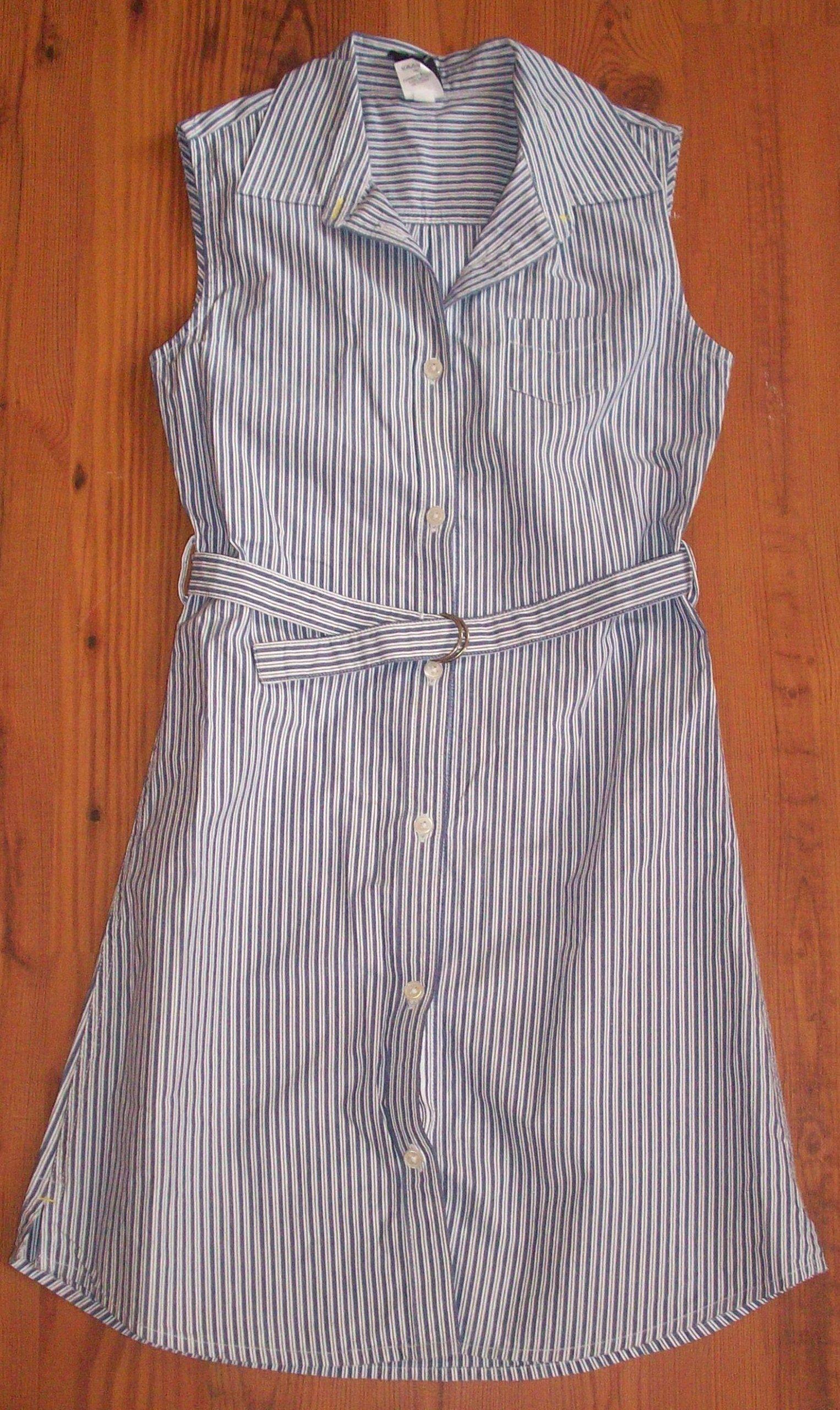 Sukienka pasy GAP 7-8 lat niebieska biała
