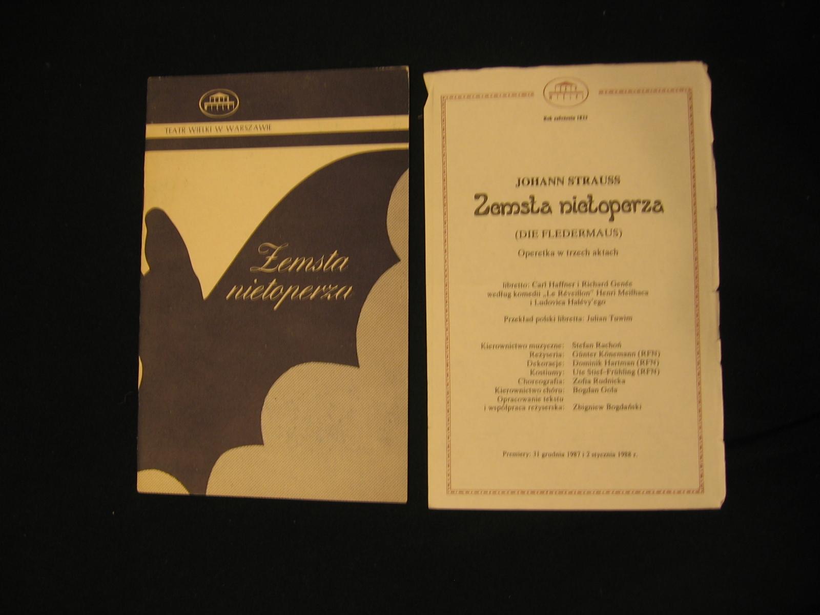 Strauss - Zemsta nietoperza Program + wkładka