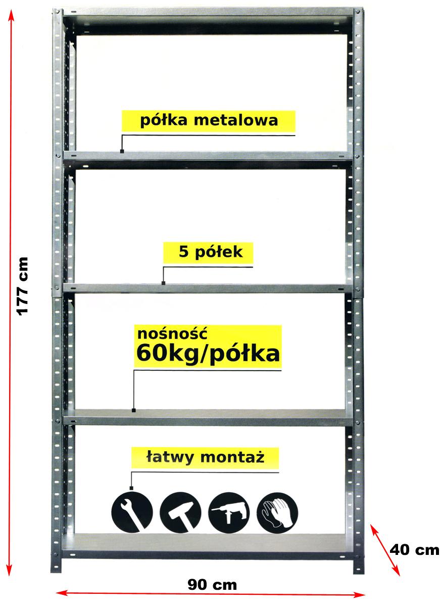 Regał Magazyn100 Metalskręcany5 Półek 300 Kg