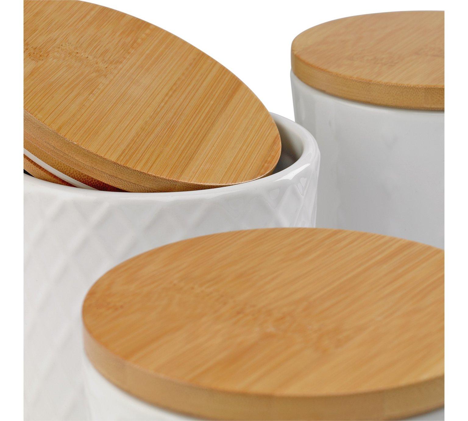 Pojemniki Kuchenne Białe Ceramiczne Bambusowe 7137482063