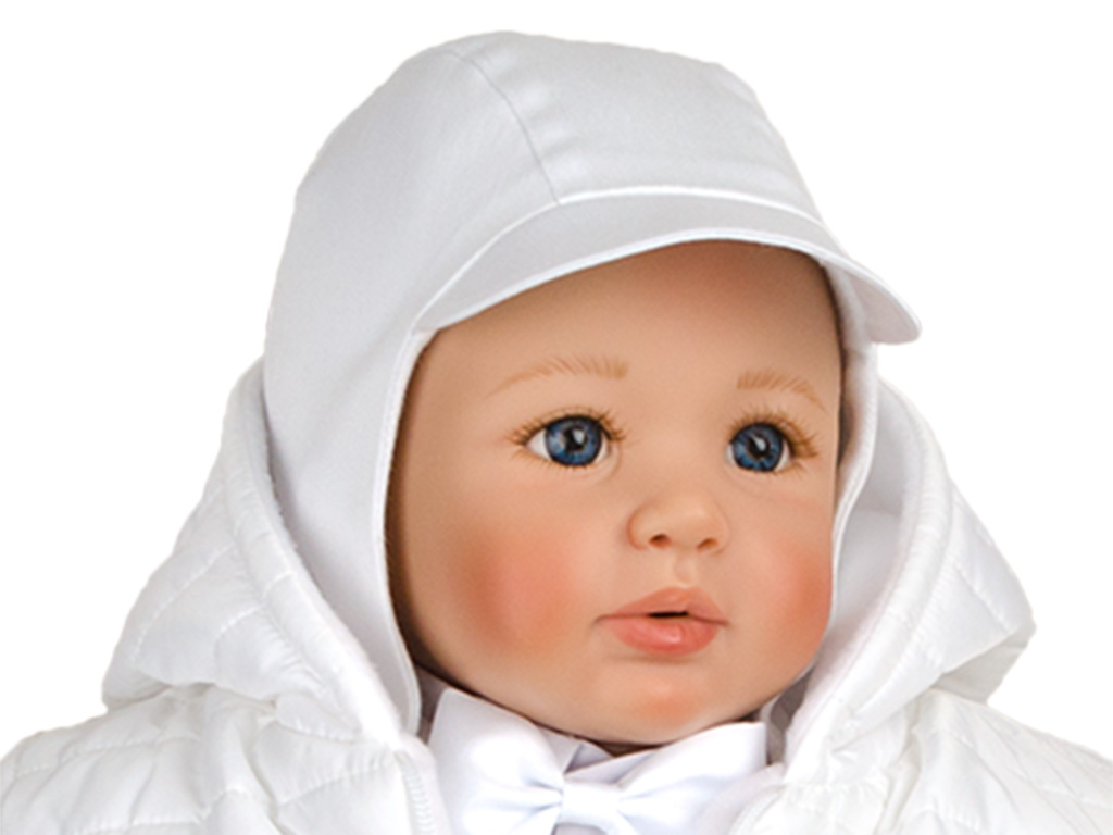 db812735aae6ca Czapka do chrztu dla chłopca biała gładka r.62 - 7250186469 ...
