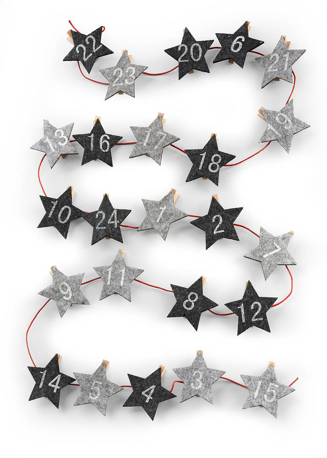 Kalendarz adwentowy Gwiazdy ze spinac szary 917555