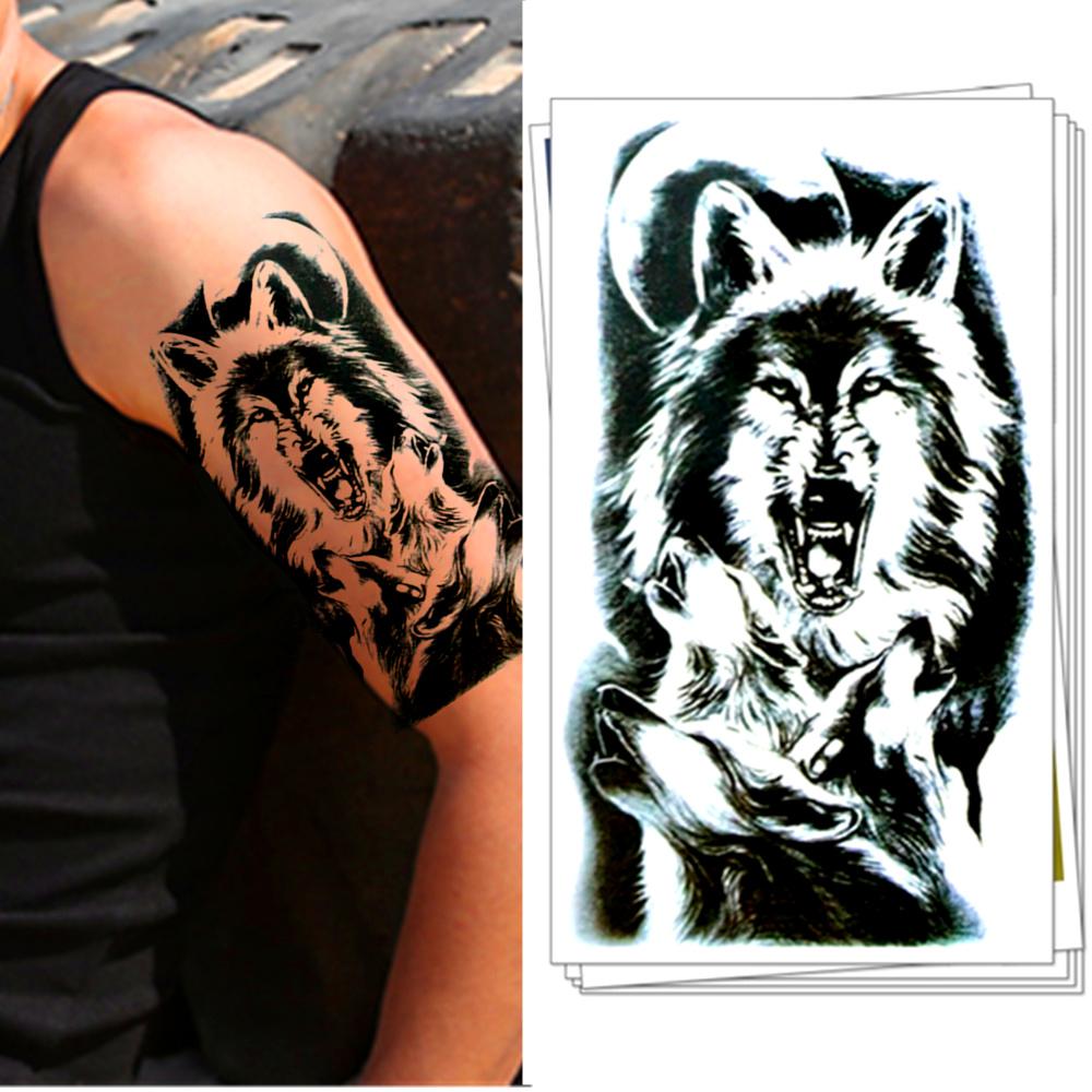 Tatuaz Zmywalny Wilki Pełnia Księżyca Tattoo 7011258456