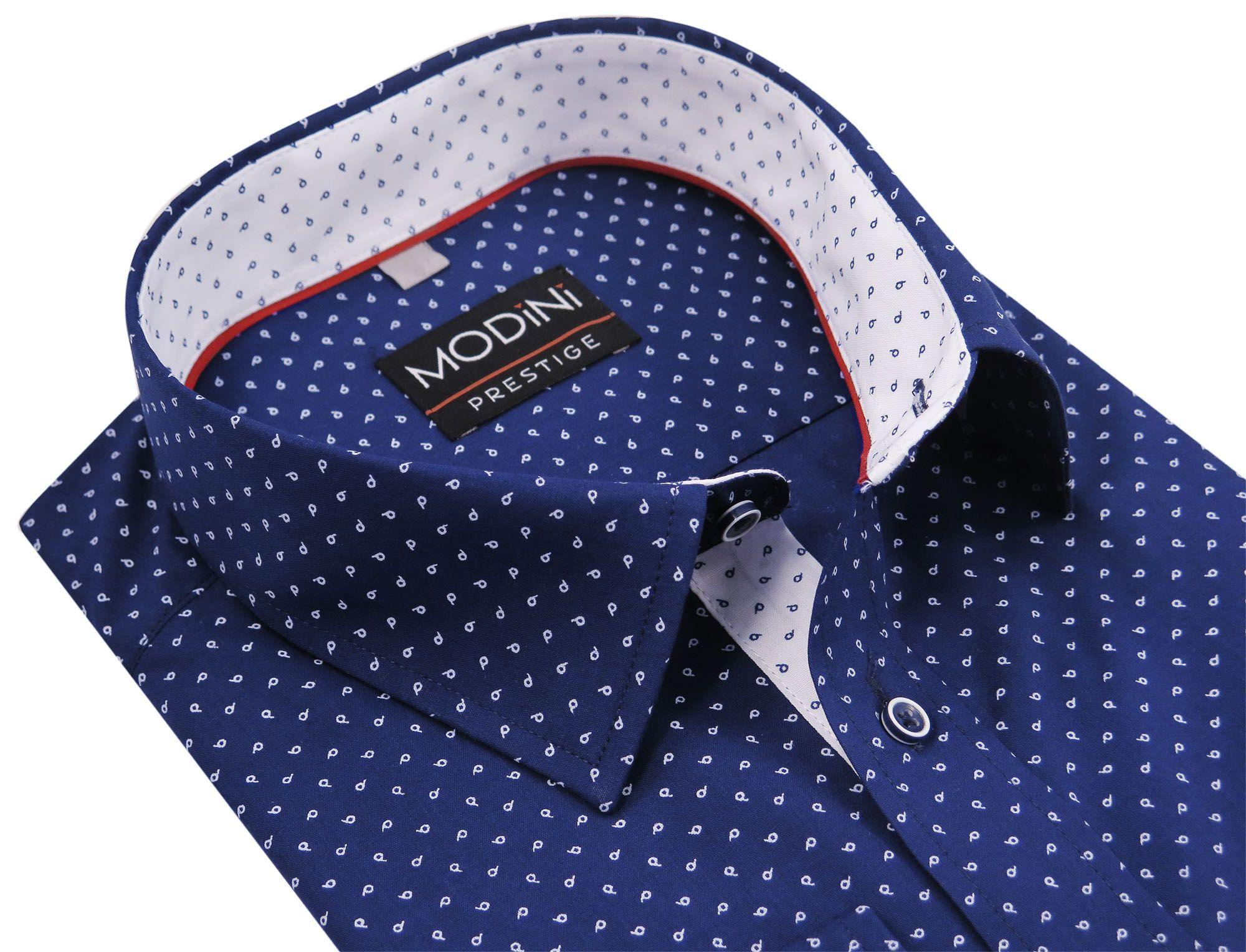 af8099c504445 Granatowa koszula łezki A21 Modini 176-182 45-REG - 7162841467 ...