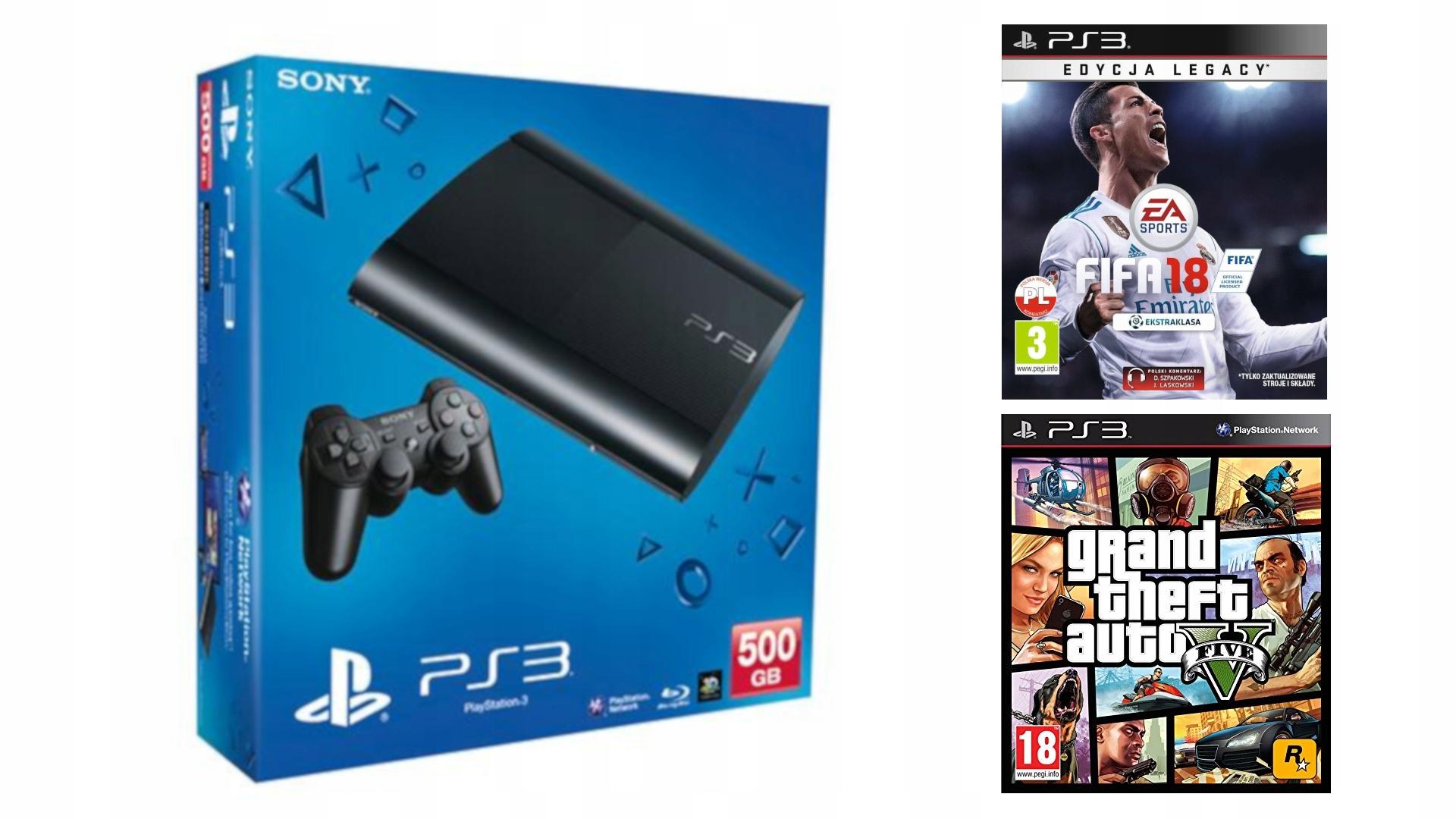 PS3 PLAYSTATION 3 # 500GB # FIFA 18 # GTA V #