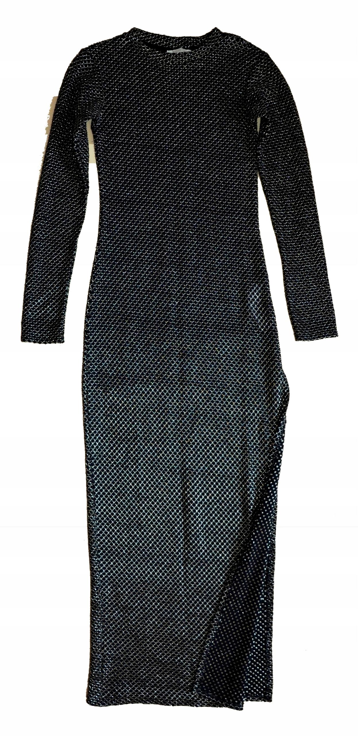 c49fee2316 ZARA czarno-złota wieczorowa sukienka rozmiar S - 7679184544 ...