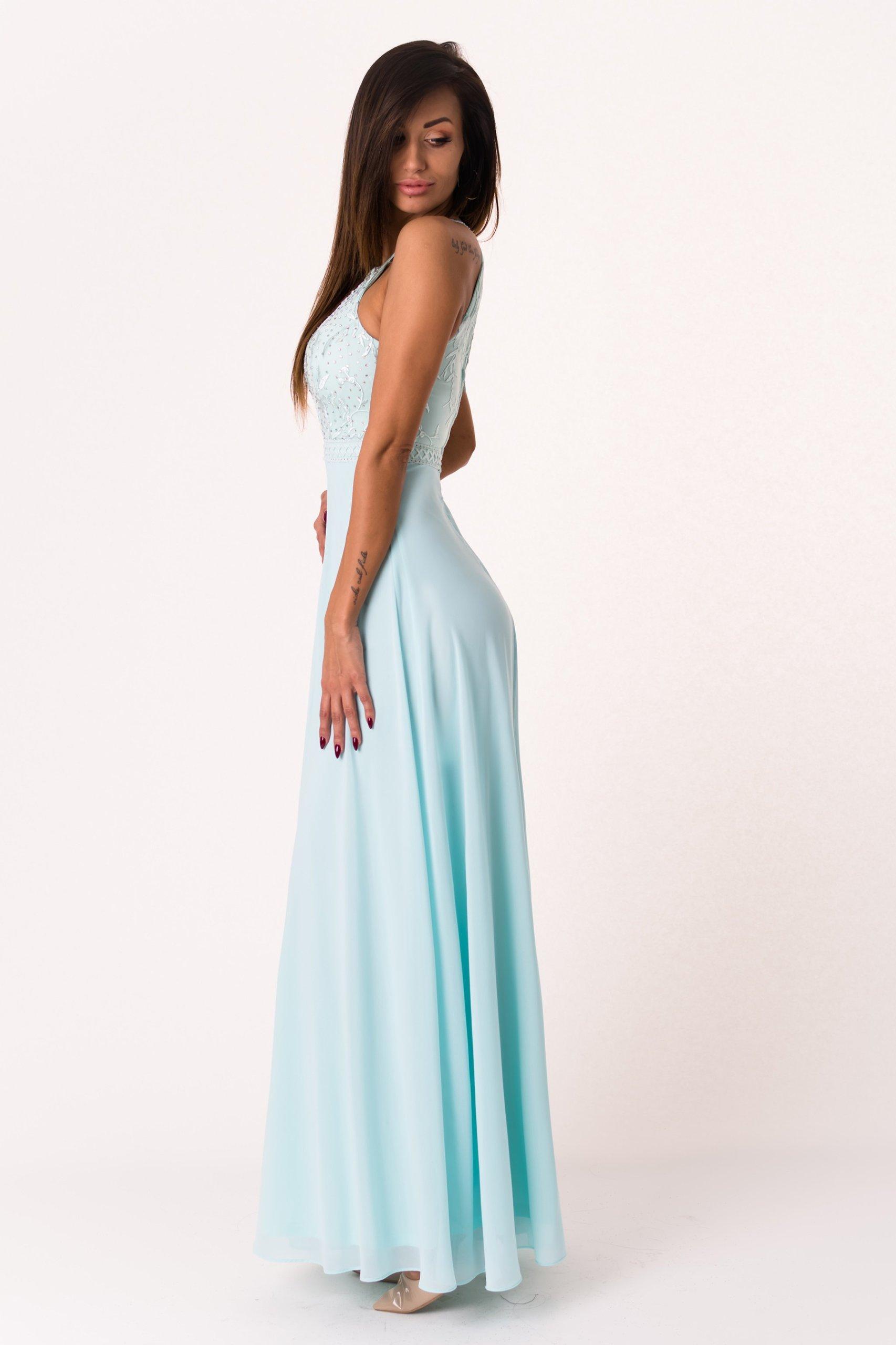 60fcdcbc41 Długa suknia z cyrkoniami - błękitna S - 7200906589 - oficjalne ...