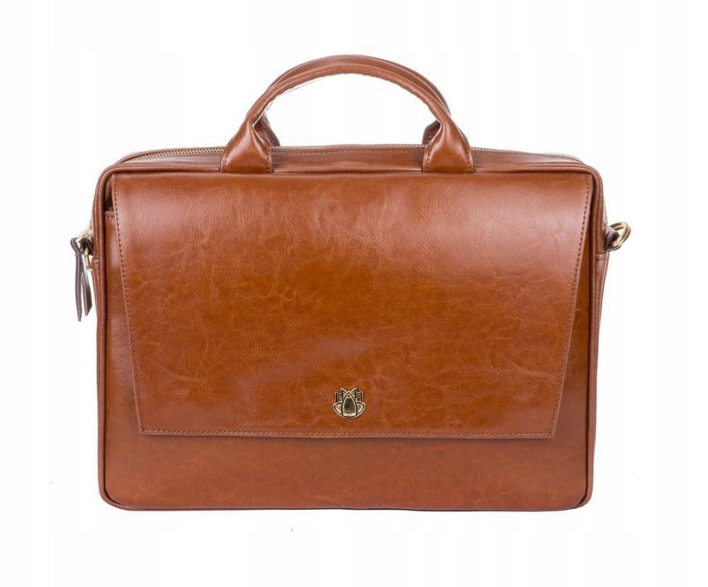 bcb5cb9f15879 Skórzana torba na laptopa FL14 Rimini brązowy vint - 7572136784 ...
