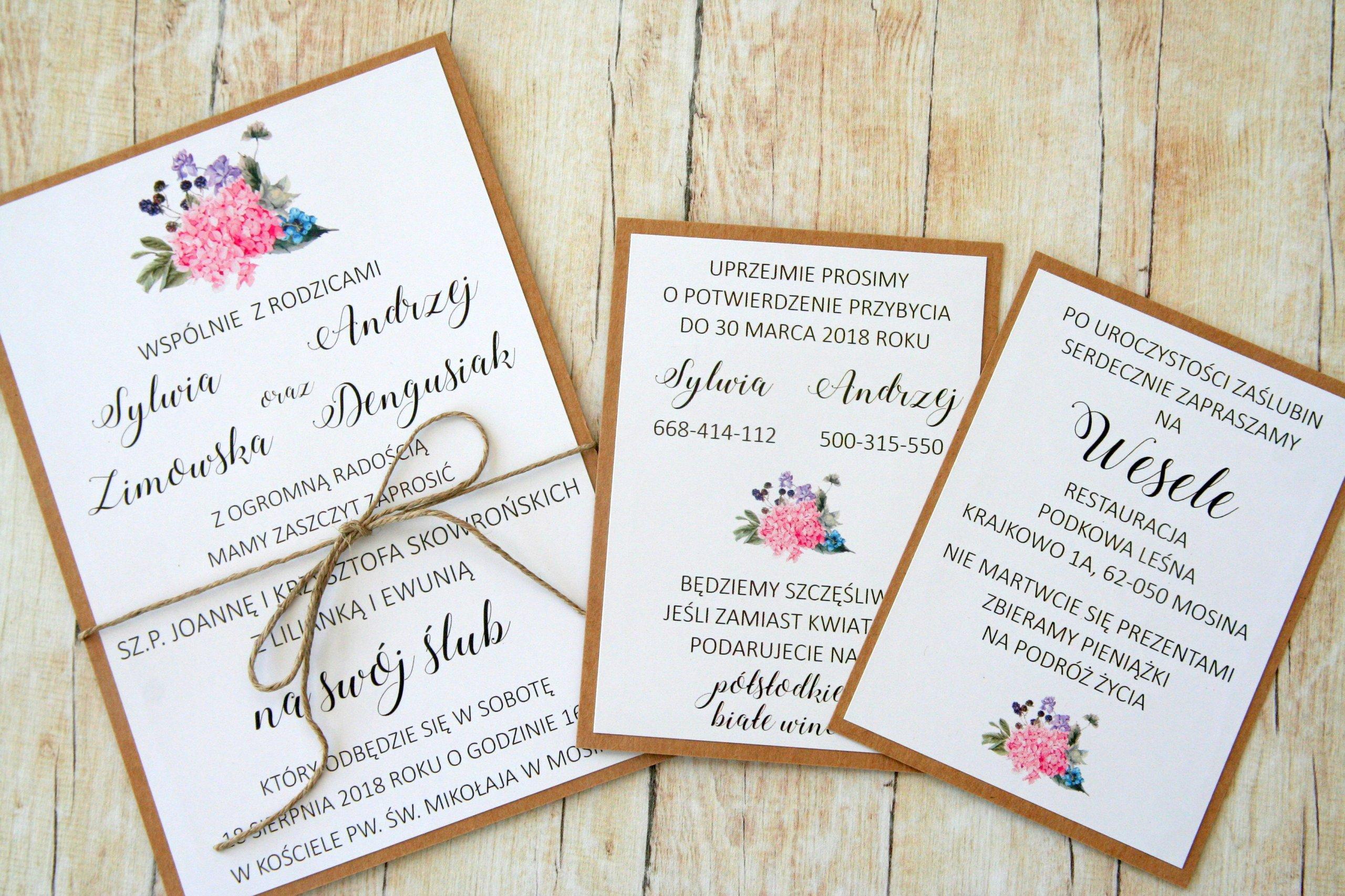 Piękne Eco Zaproszenie Na ślub I Wesele Hortensja 7360185529