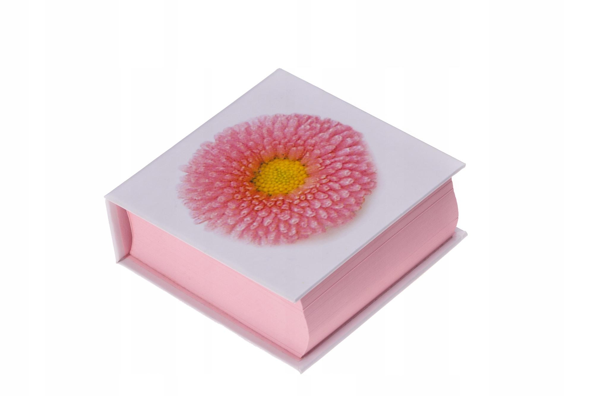 Kubik notes bloczek zapiski różowy Kwiatek PREENT