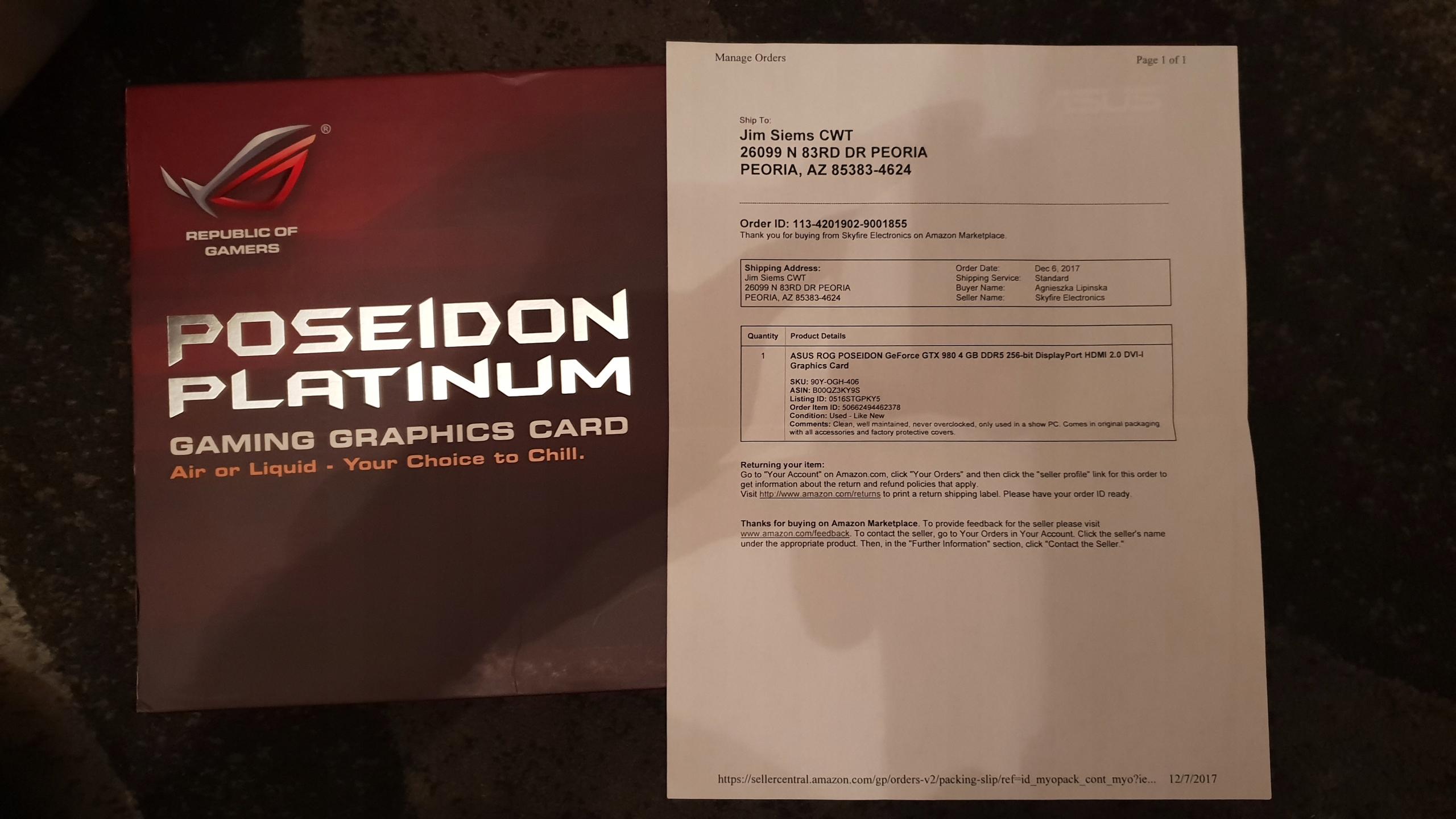 ASUS 980 GTX POSEIDON PLATINUM STAN IDEALNY UNIKAT
