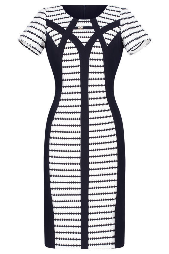 410b5282f8 Sukienka Andrea granatowo-biała we wzory 42 MODON - 7295620446 ...