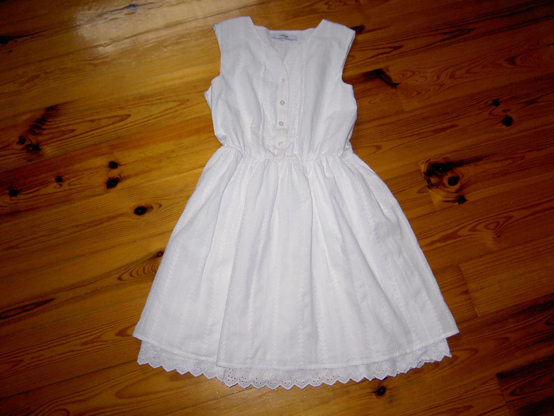511d9689 George - biała sukienka hafty koronka next 146/152