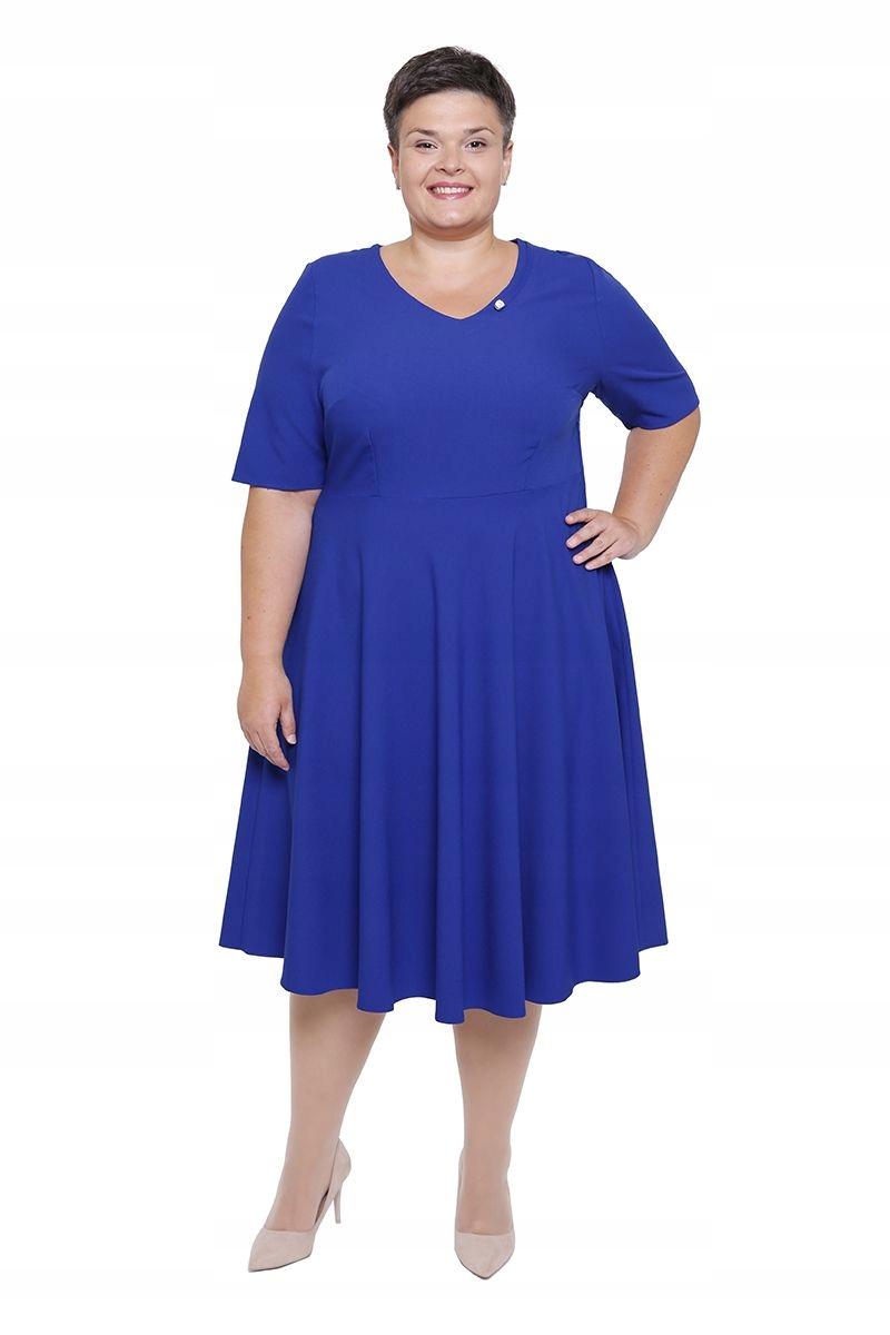 d4576bf6cd Rozkloszowana chabrowa sukienka ze zdobieniem 48 - 7544413248 ...