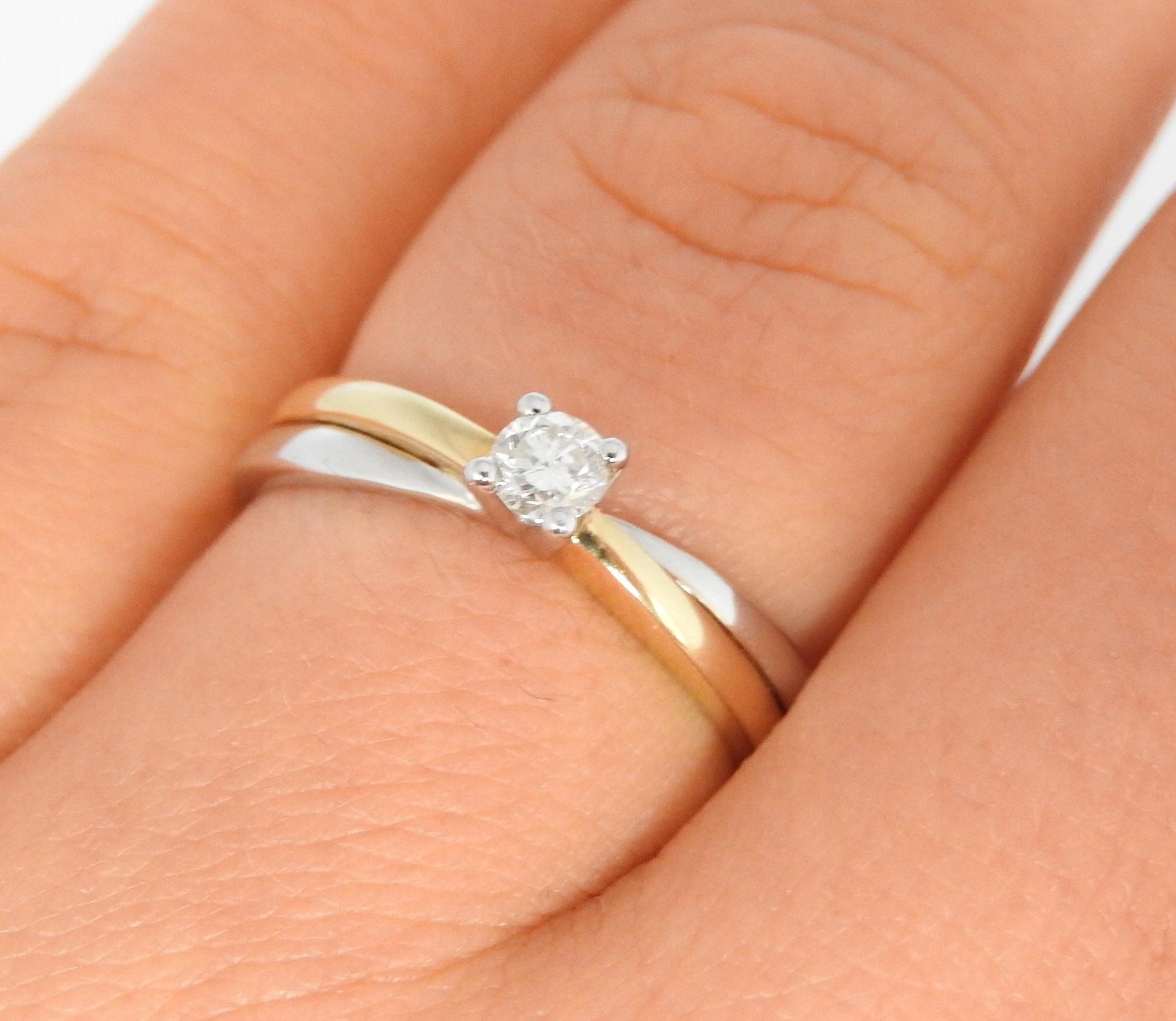 Piękny Złoty Pierścionek Brylant Verona 585 R 15 6973972070