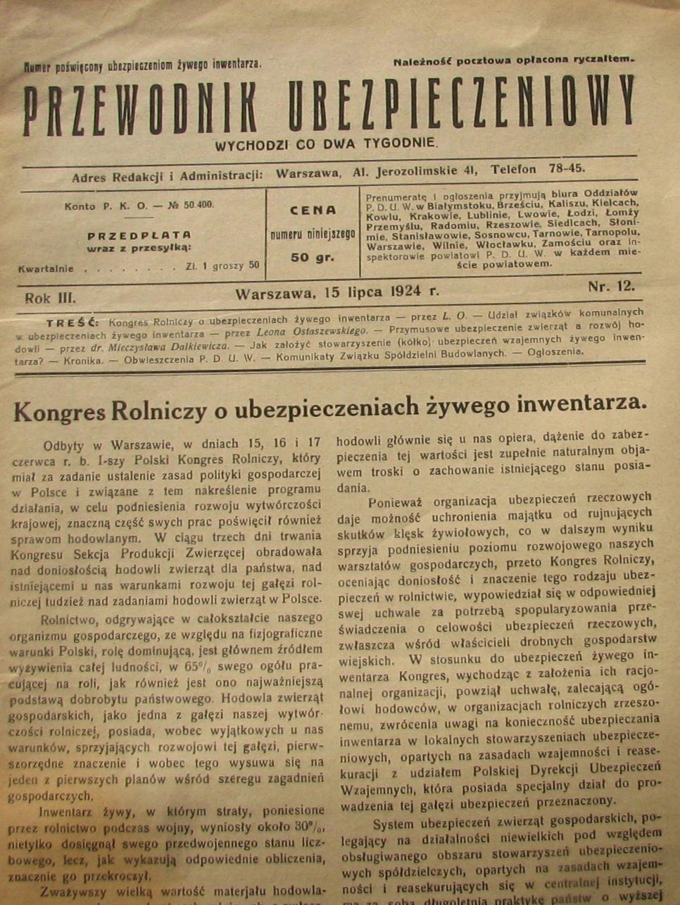 STEFCZYK PRZEWODNIK UBEZPIECZENIOWY 1924 Nr 12