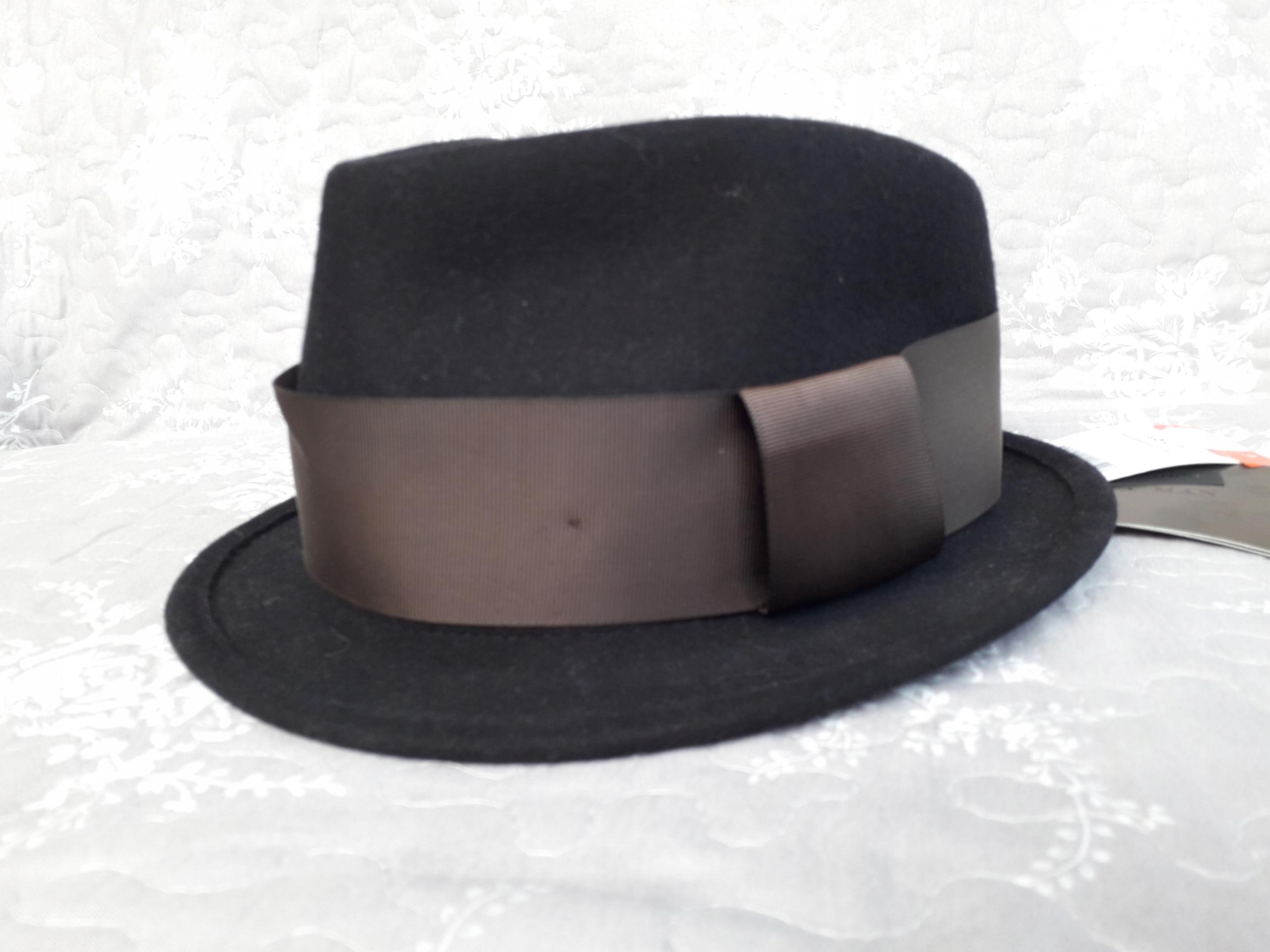 ZARA MAN kapelusz wełna czarny r. L, 59 cm