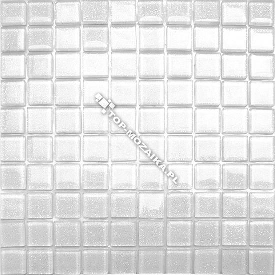 Mozaika Szklana Biała Z Brokatem Kuchniałazienka