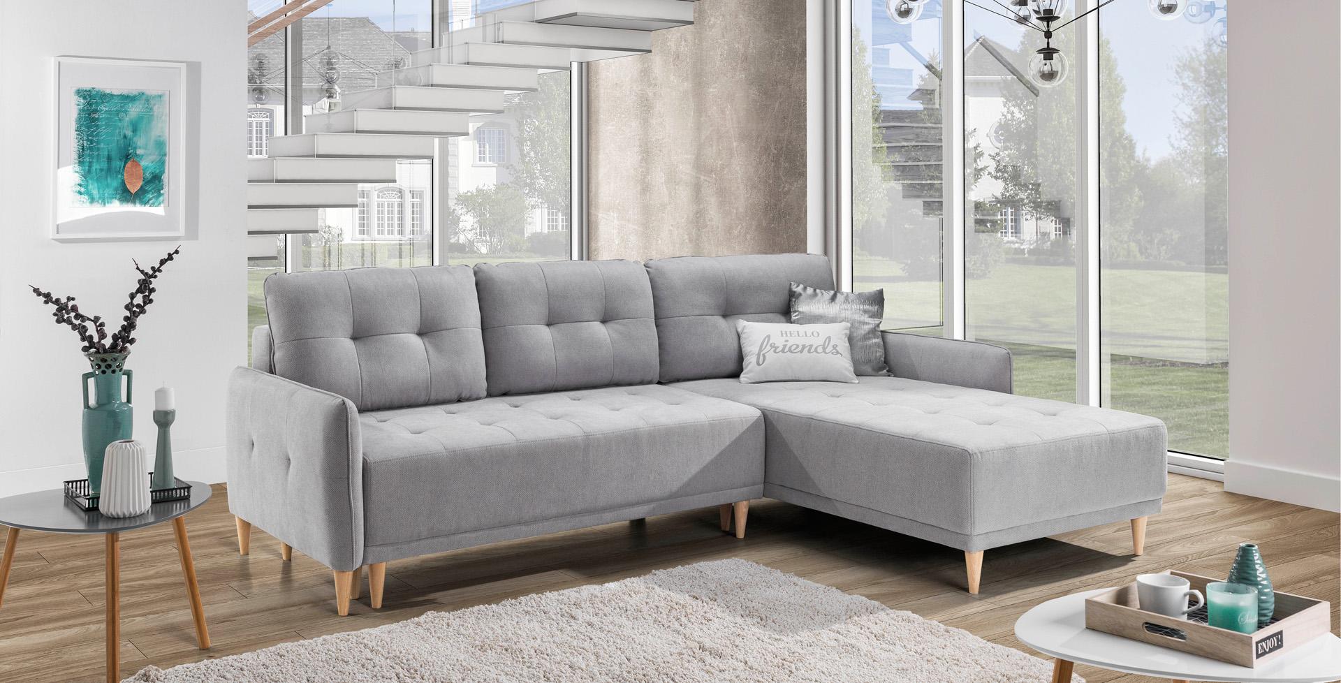 Narożnik Malmo Sofa Rozkładana Drewniane Nóżki 7188751850