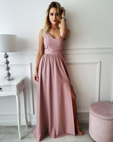 b764377269 Długa sukienka brudny róż z cudownym rozcięciem! - 7406800259 ...