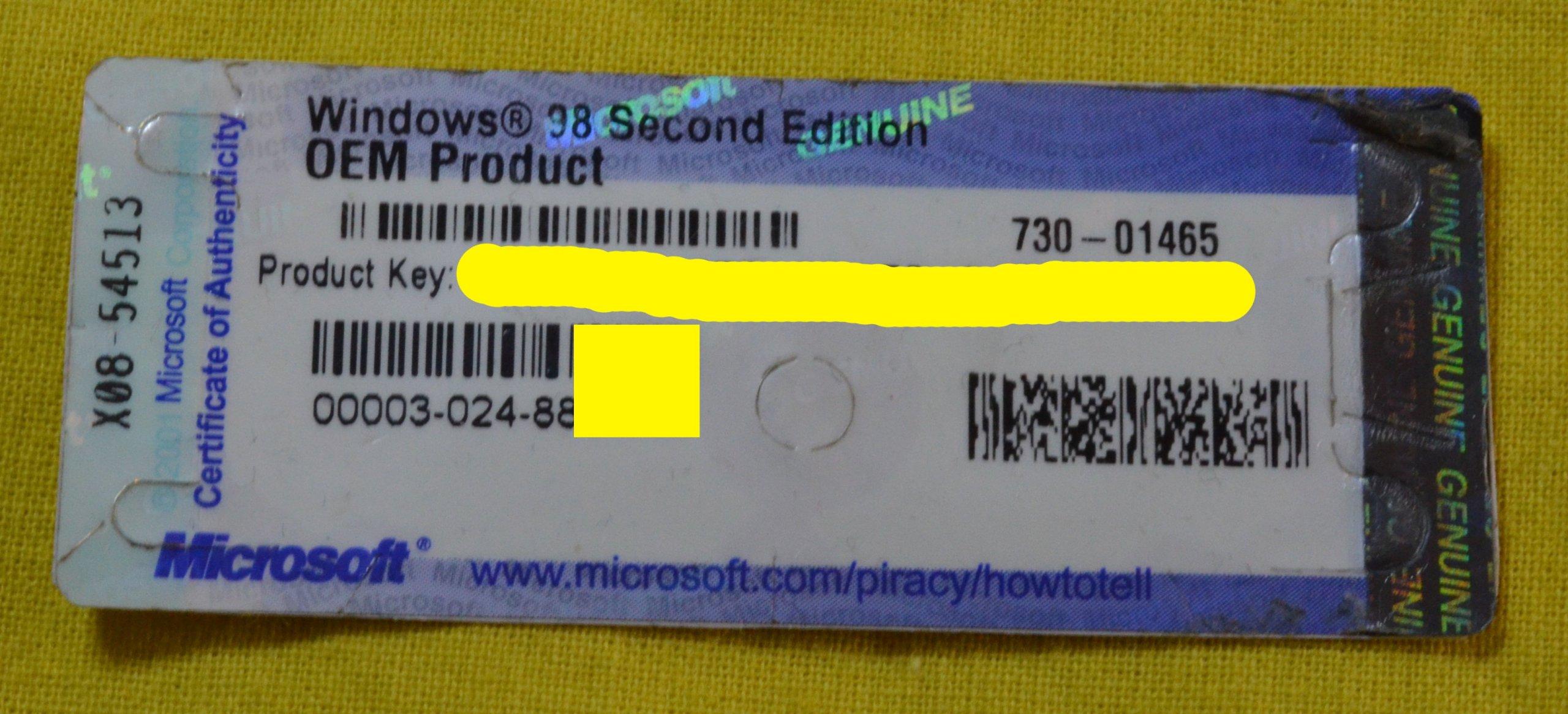 MICROSOFT WINDOWS 98 SECOND EDITION OEM