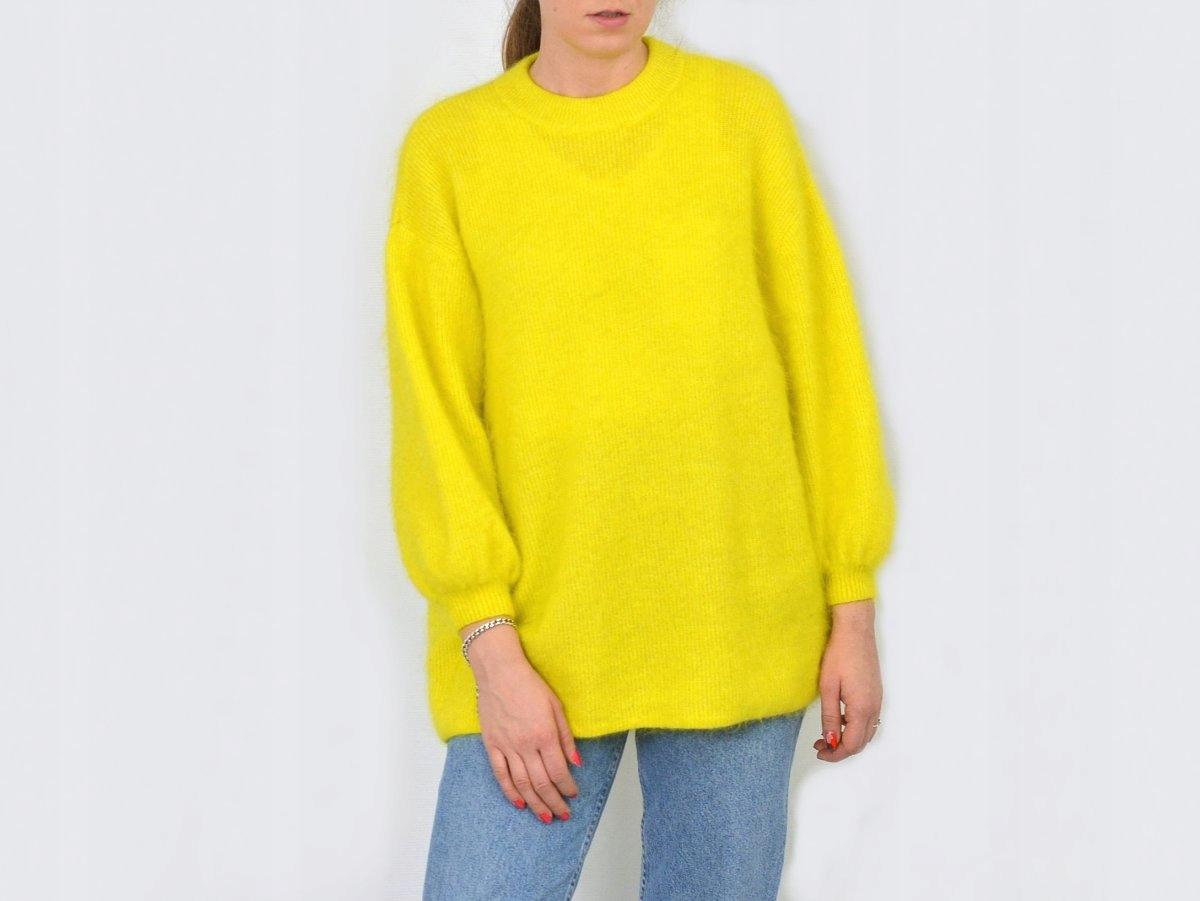 d49ab5b880ea55 H&M żółty sweter moherowy włochaty neonowy S/M - 7403374599 ...