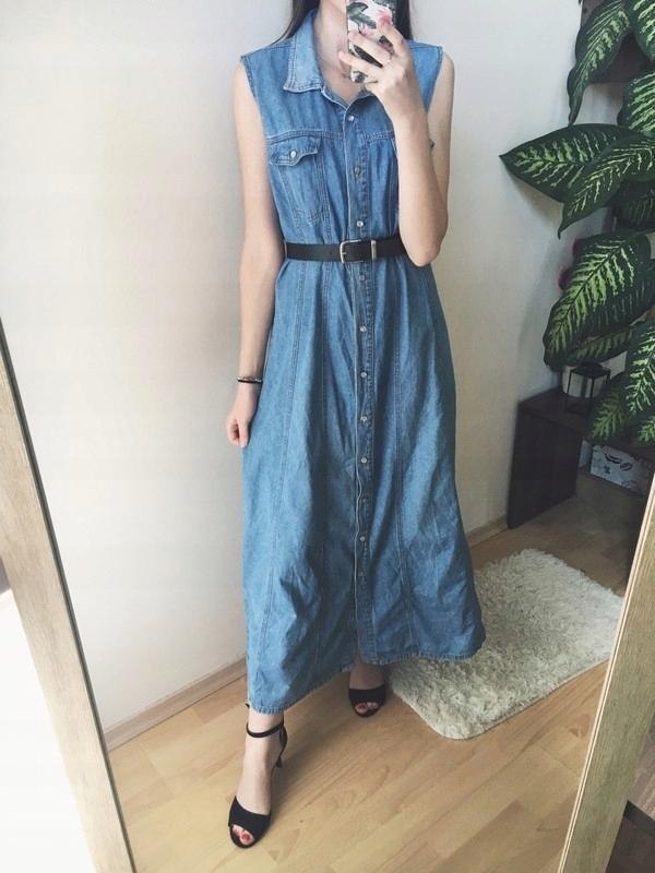 b0f3a59cd4 Sukienka jeansowa dżinsowa maxi długa 38 M 40 L XL - 7535823439 ...