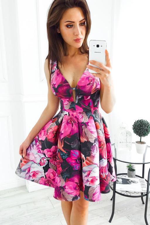 180283022aad Vubu NOWA sukienka rozkloszowana kwiaty XS 175 - 7115118634 ...