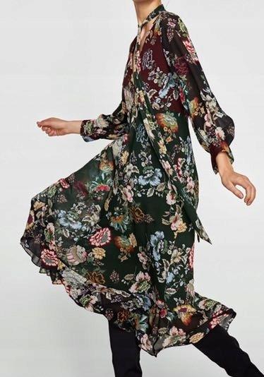 zara sukienki w kwiaty midi