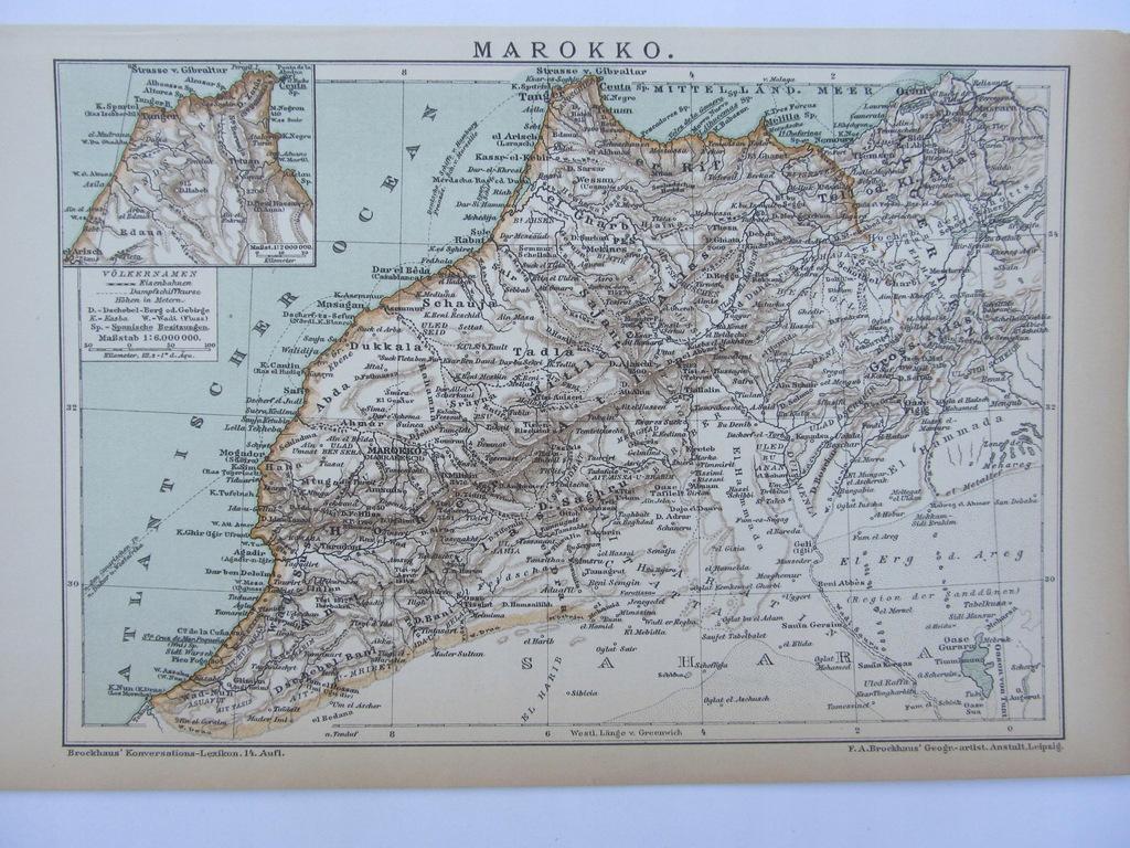 AFRYKA MAROKO mapa 1898 r.