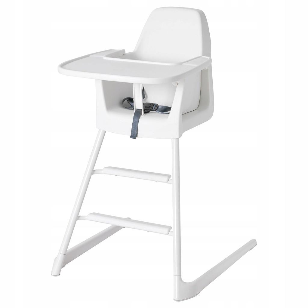 IKEA LANGUR Krzesło dziecięcewysokie z tacą biały