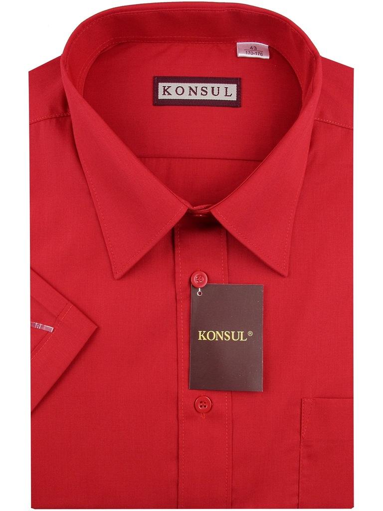 Koszula męska gładka czerwona na krótki rękaw k731 (Konsul