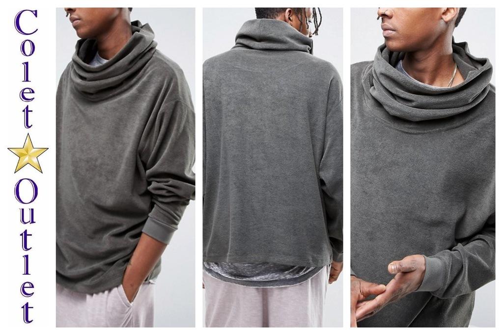 mo96 sweter khaki oversize szeroki golf XS