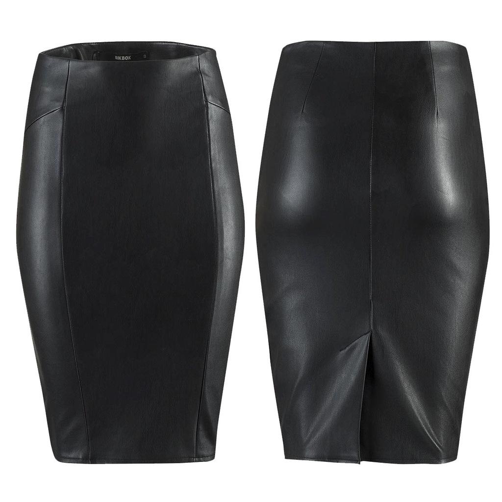 BIKBOK ołówkowa spódnica 36 S UK8 skóra czarna 7222604713