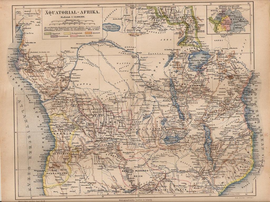ANGOLA TANZANIA MOZAMBIK RUANDA KONGO 1890 ROK
