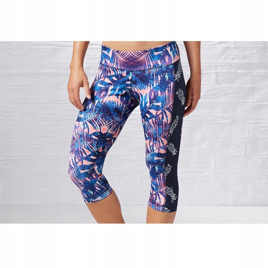 Reebok, Spodnie damskie, 34 Yoga Print Capri, rozmiar S