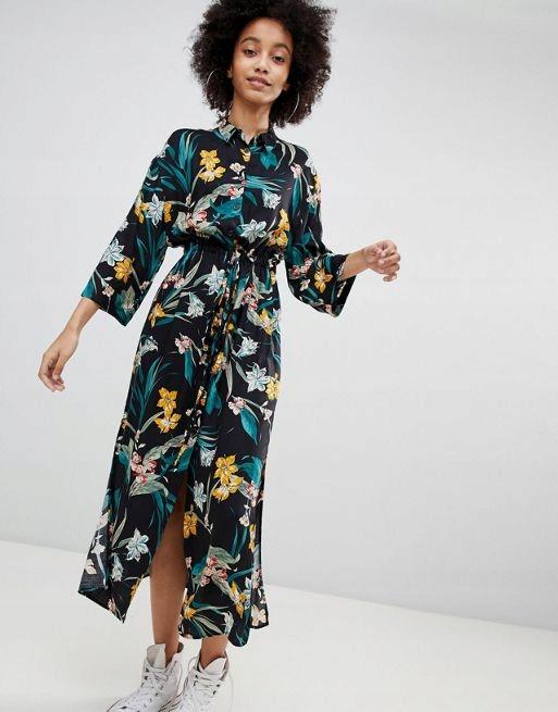 Aut11 1k Sukienka Maxi W Kwiaty Z Wiskozy 36 S 7676072305 Oficjalne Archiwum Allegro
