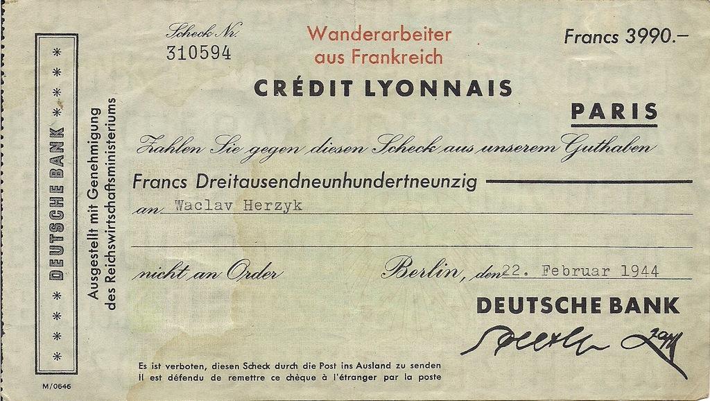 Czek Deutsche Bank we fr. franc. na polaka 1944r