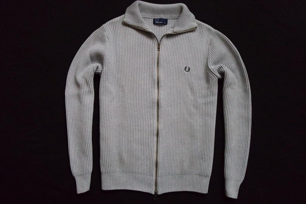FRED PERRY sweter sweterek bluza szara logo____S/M