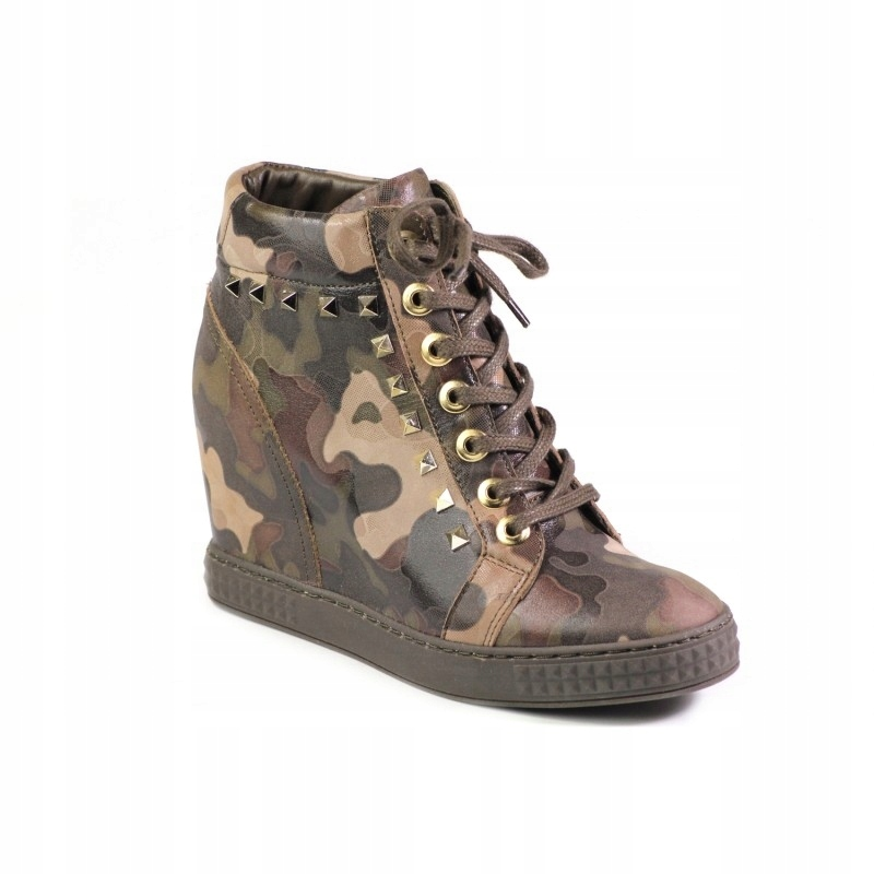 Sneakersy Carinii botki skóra na koturnie B4845 37