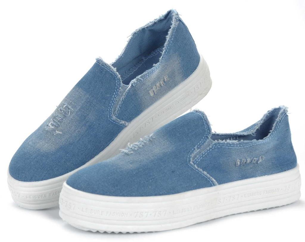 Trampki jeansowe na platformie NIEBIESKIE 1328 38