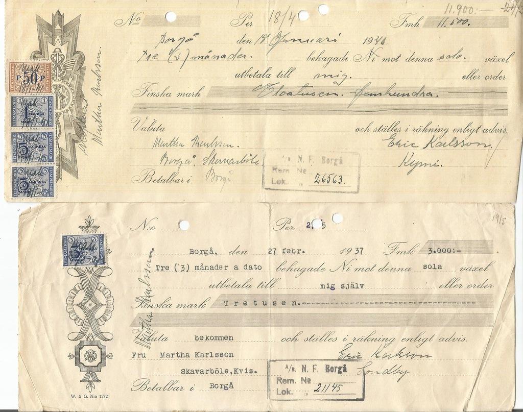 FINLANDIA WEKSEL r. 1937-40 (D)