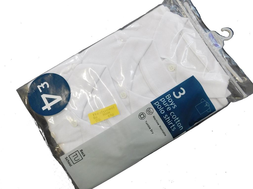 3003m14x3 TU biała KOSZULKA POLO 3- pack 104 cm