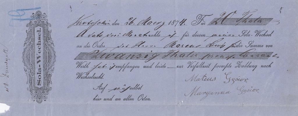Krotoszyn 1874 Weksel 20 TALARÓW revenue