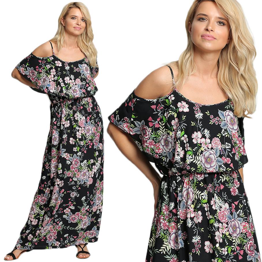 Długa sukienka w kwiaty BOHO D14 WZÓR 2 wzór 2 | Odzież