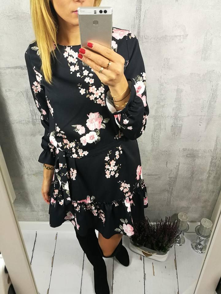Jesienna Wiązana Sukienka Xana Kwiatki Falbanka